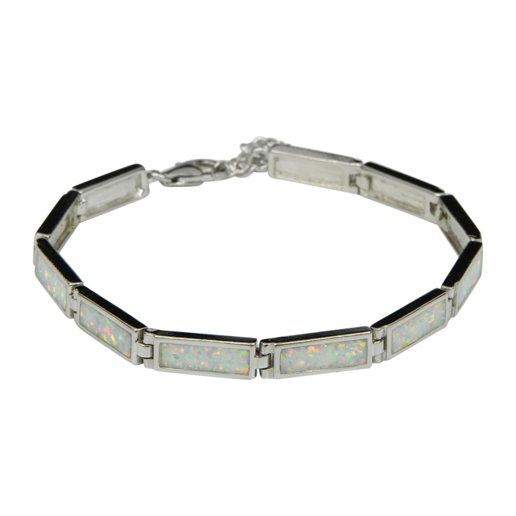 Sterling Silver White Lab Opal Rectangle Tennis Bracelet