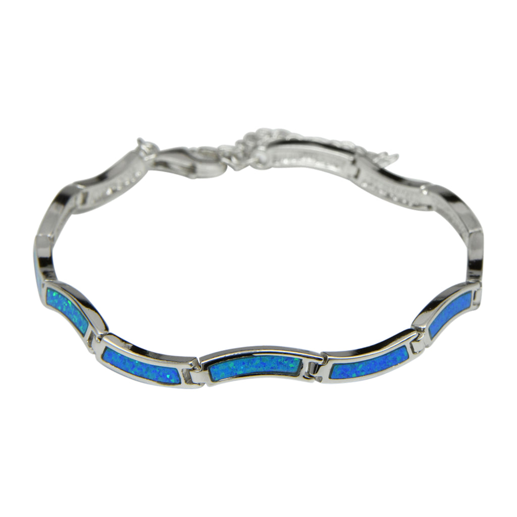 Sterling Silver Blue Lab Opal Wave Tennis Bracelet