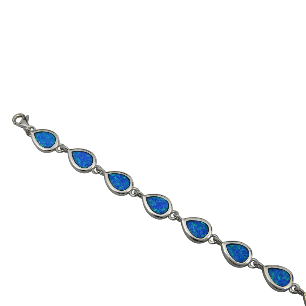 Sterling Silver Blue Lab Opal Tear Drop Link Bracelet