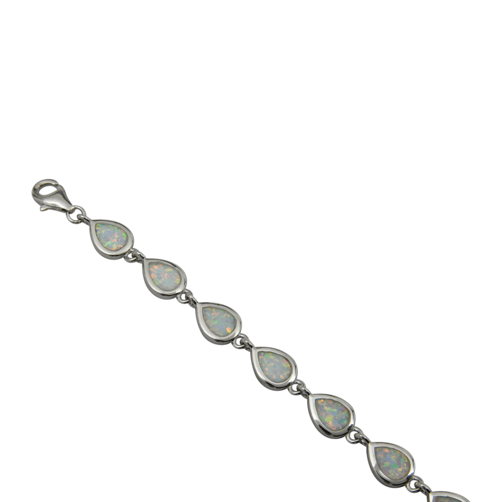 Sterling Silver White Lab Opal Tear Drop Link Bracelet