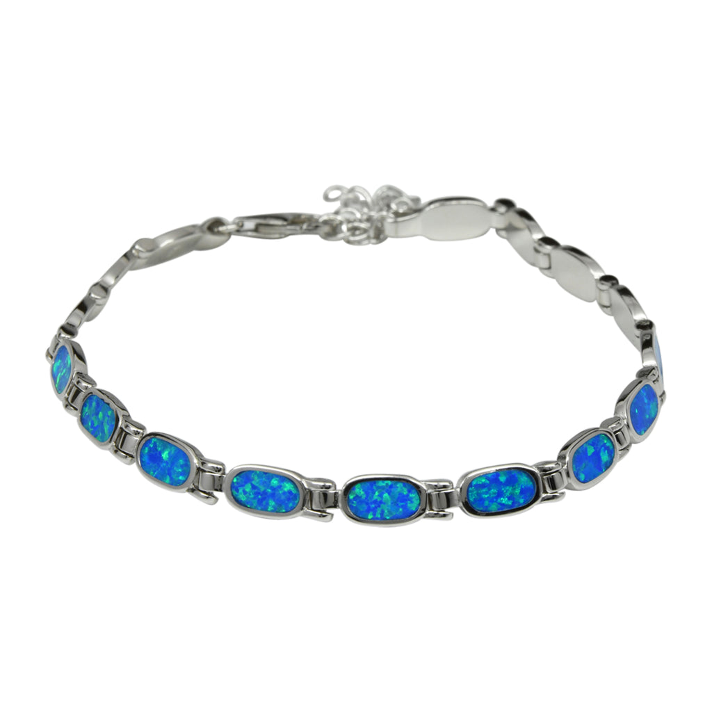 Sterling Silver Blue Lab Opal Oval Tennis Bracelet