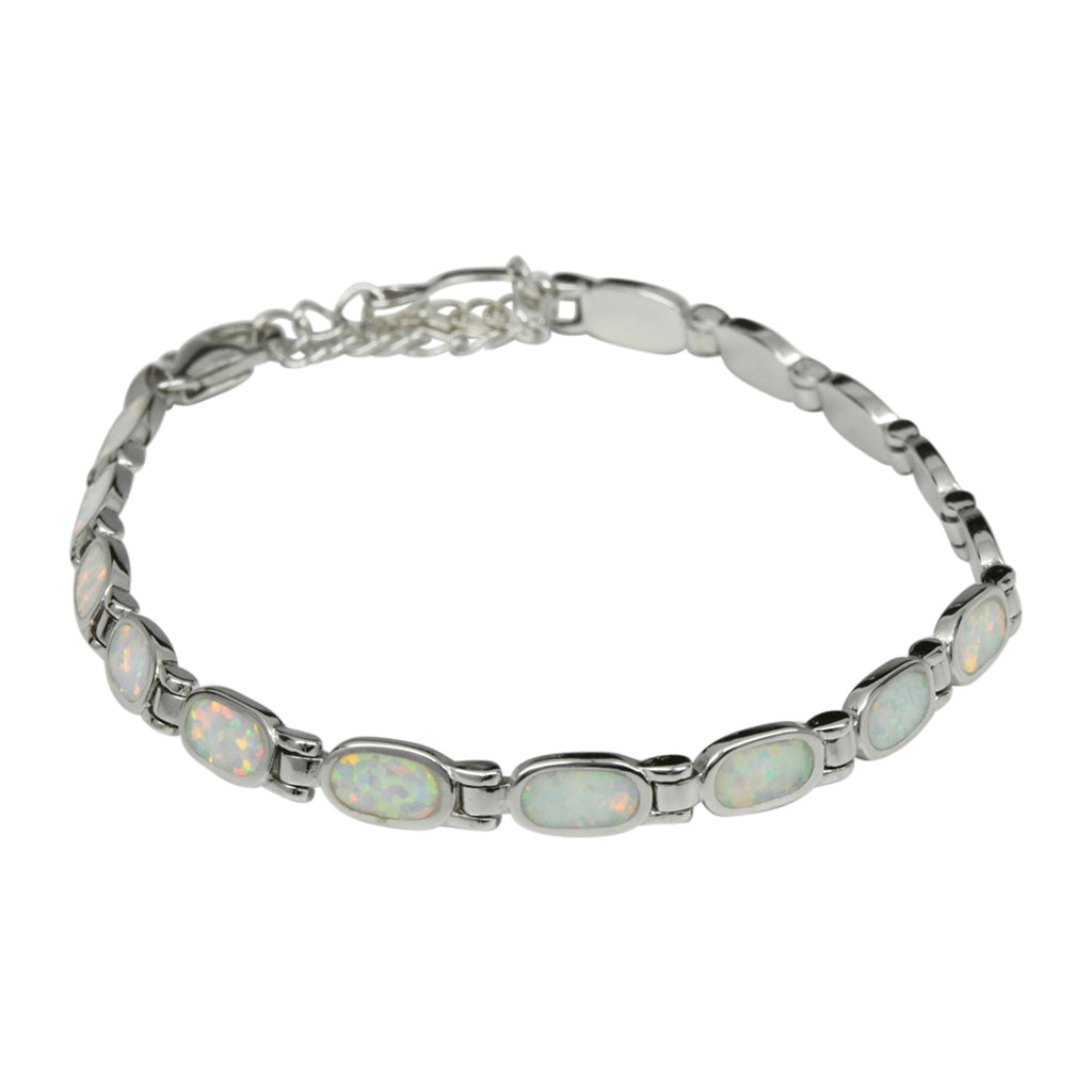 Sterling Silver White Lab Opal Oval Tennis Bracelet