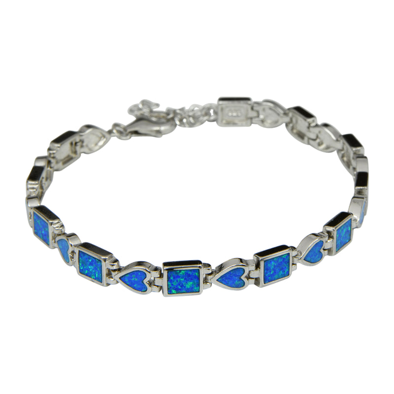 Sterling Silver Blue Lab Opal Square & Heart Tennis Bracelet