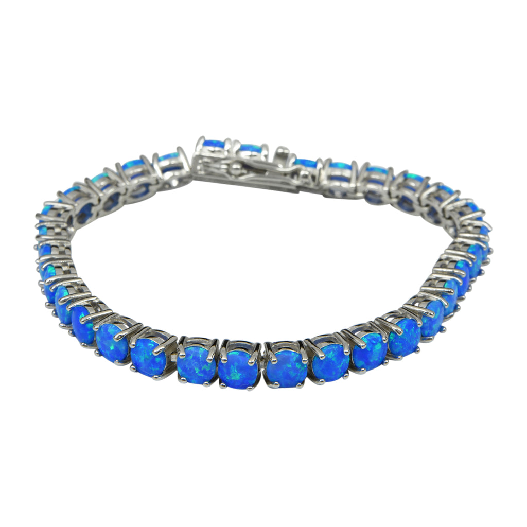 Sterling Silver Blue Lab Opal Round Prong Set Tennis Bracelet