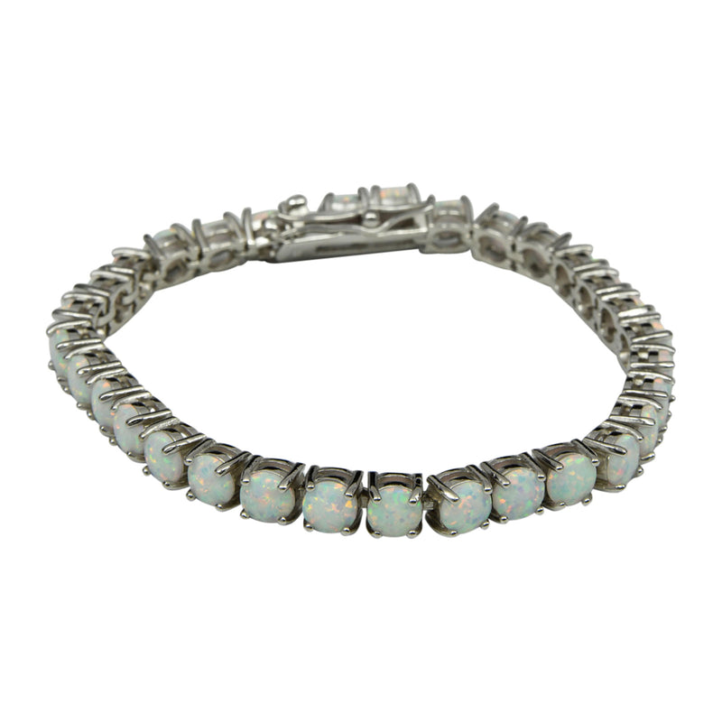 Sterling Silver White Lab Opal Round Prong Set Tennis Bracelet