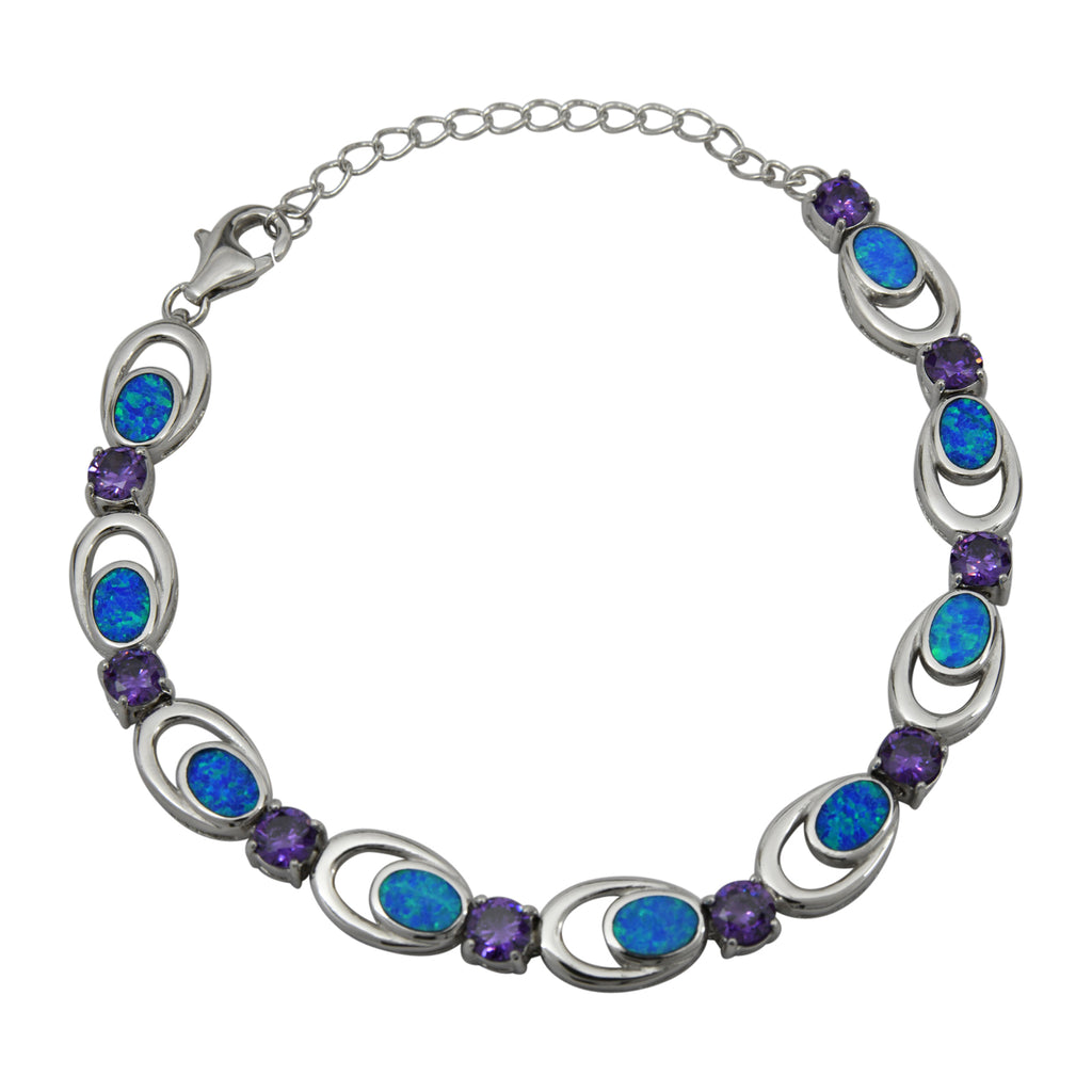 Sterling Silver Blue Lab Opal Purple CZ Link Tennis Bracelet