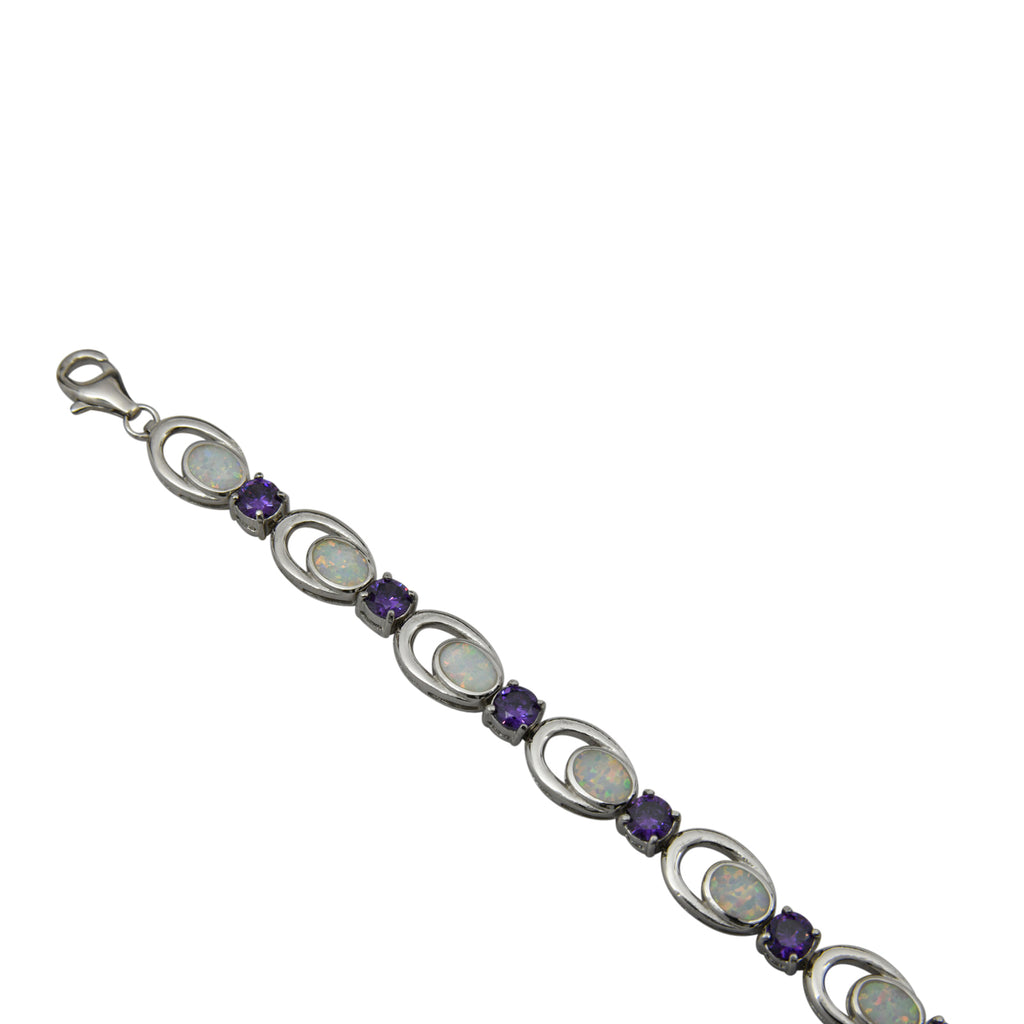 Sterling Silver White Lab Opal Purple CZ Link Tennis Bracelet