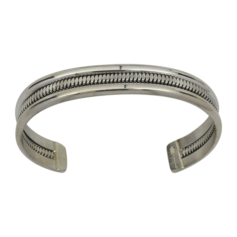 Elaine Tahe Sterling Silver Native American Navajo Flat Coil Middle 11.5mm Bracelet