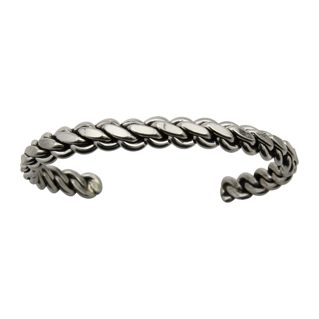 "Elaine Tahe Sterling Silver Navajo Flat Chain Link Style 1/4"" Bracelet"
