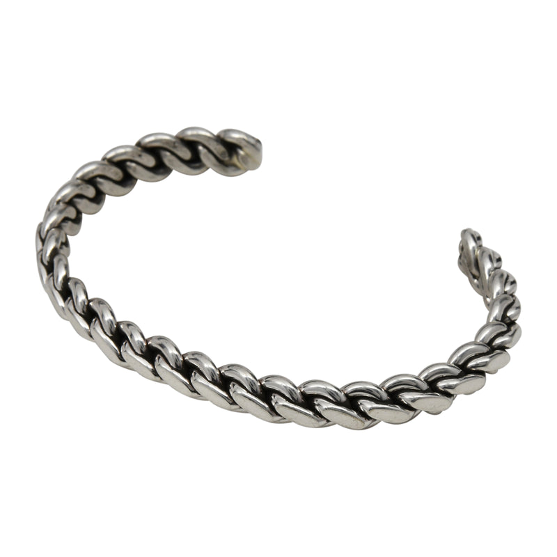 "Elaine Tahe Sterling Silver Native American Navajo Flat Chain Link Style 1/4"" Bracelet"