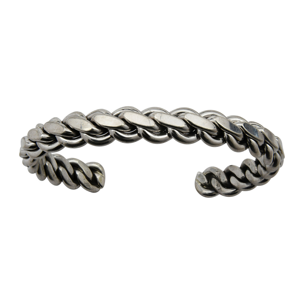 "Elaine Tahe Sterling Silver Navajo Flat Chain Link Style 3/8"" Bracelet"