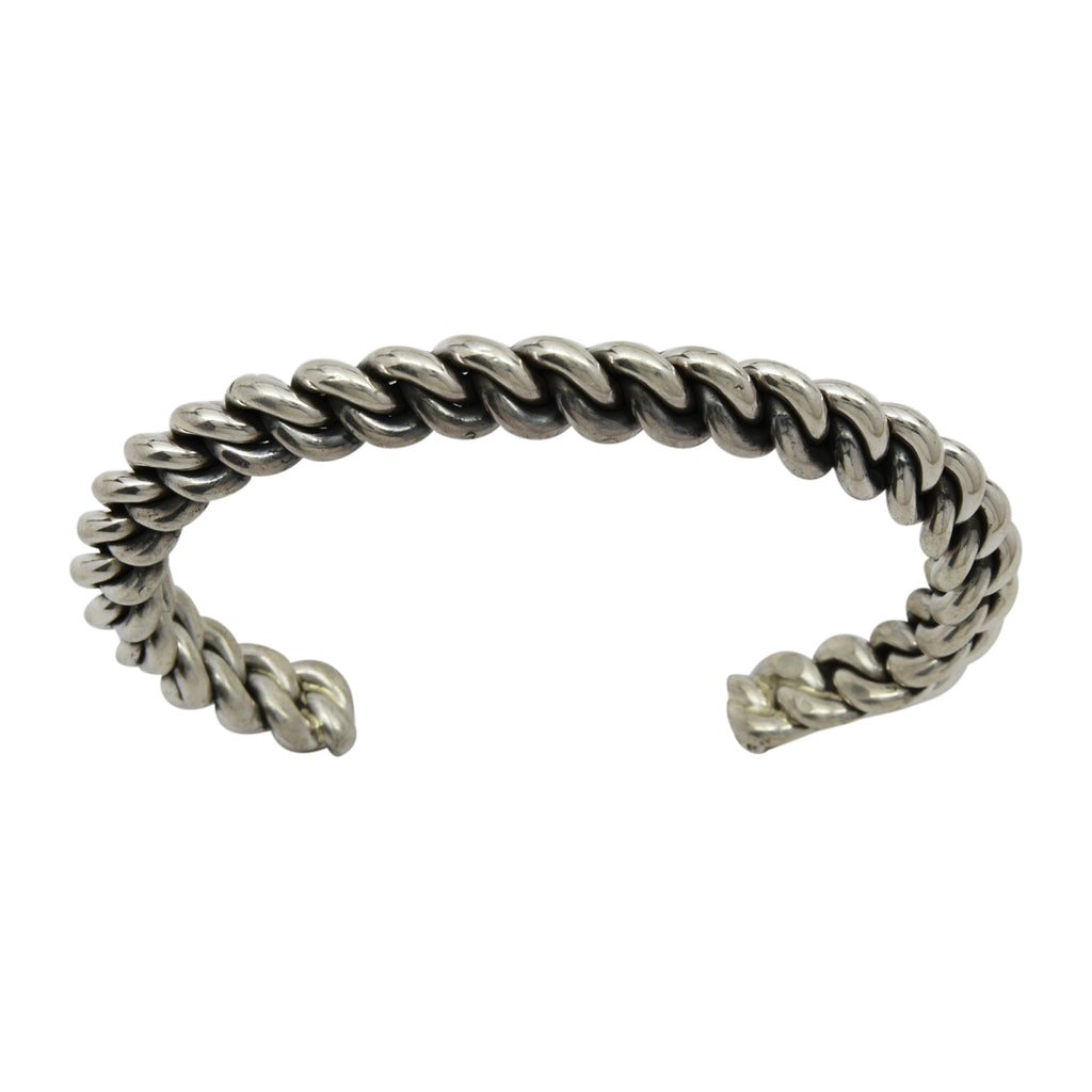 Elaine Tahe Sterling Silver Navajo Chain Link Style 8mm Cuff Bracelet