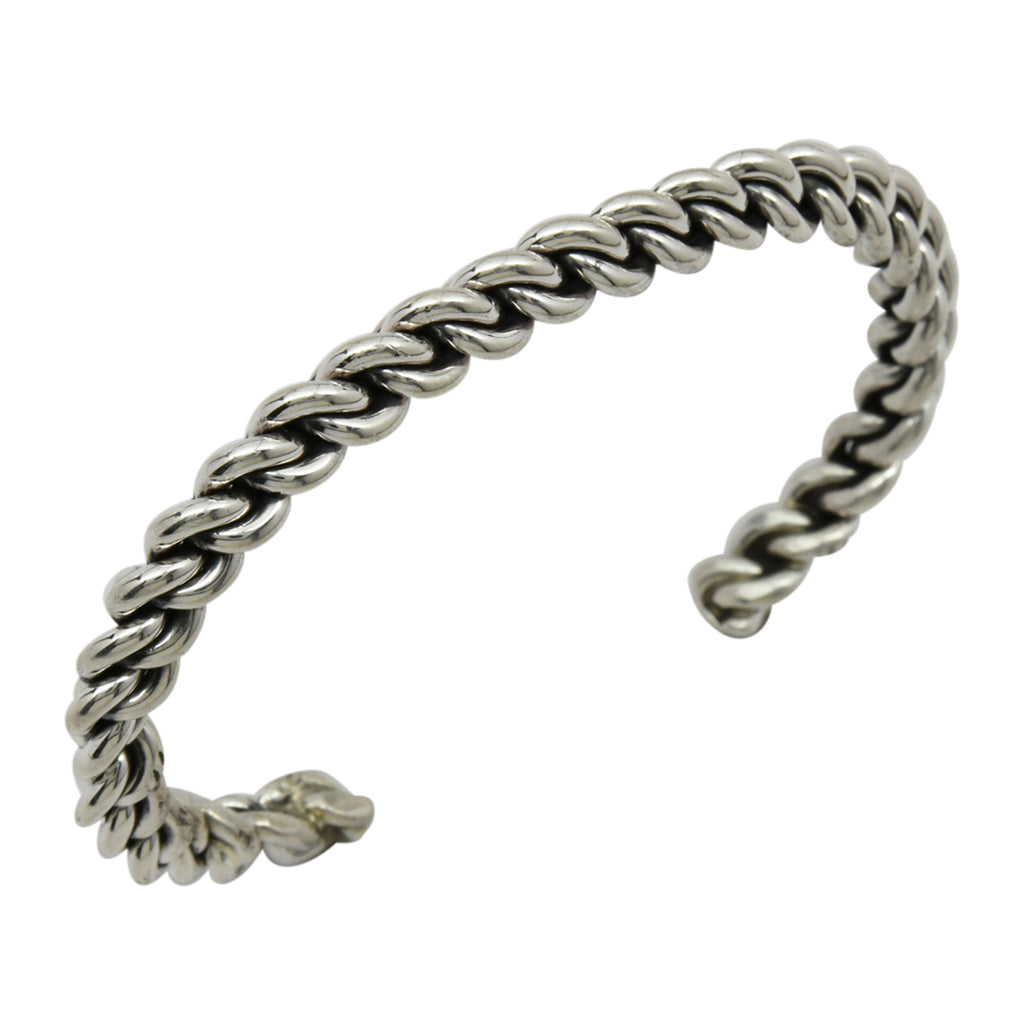Elaine Tahe Sterling Silver Navajo Chain Link Style 6.5mm Cuff Bracelet