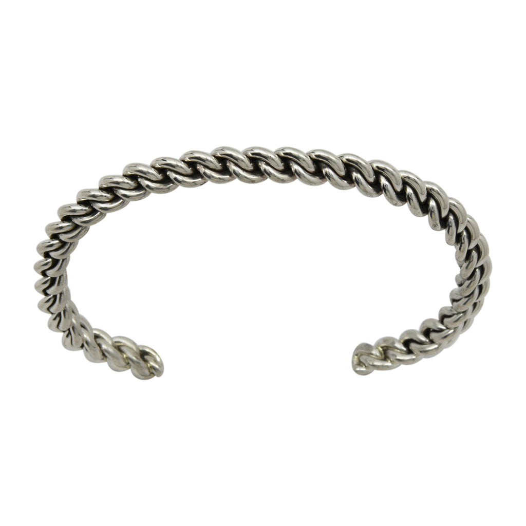 Elaine Tahe Sterling Silver Navajo Chain Link Style 5mm Cuff Bracelet
