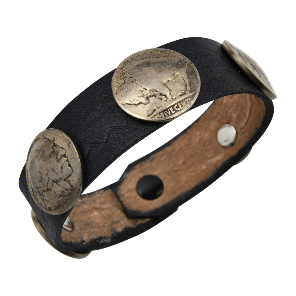 Black Leather Taos American Indian Buffalo Nickel Bracelet