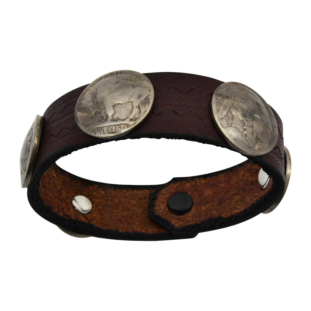 Reddish Brown Leather Taos American Indian Buffalo Nickel Bracelet