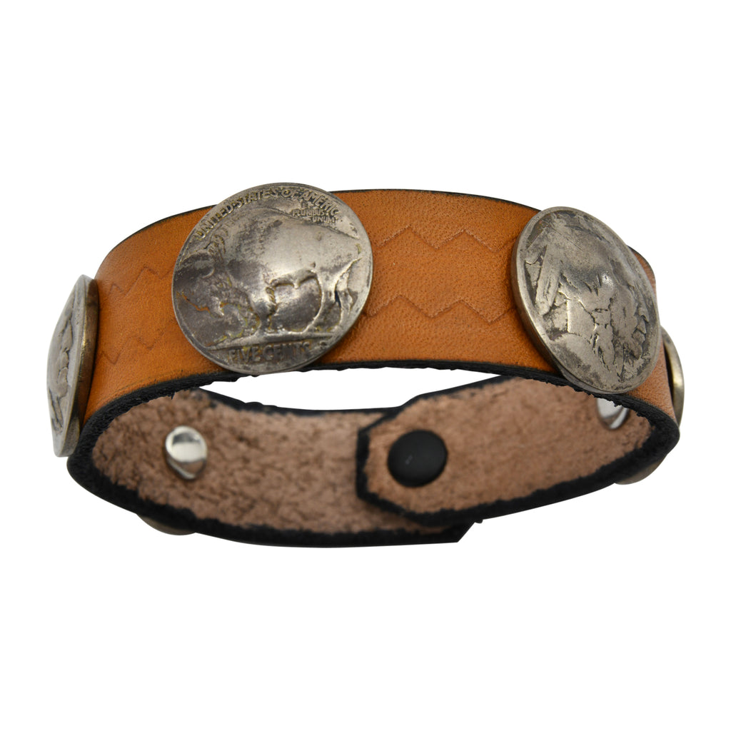 Brown Leather Taos American Indian Buffalo Nickel Bracelet