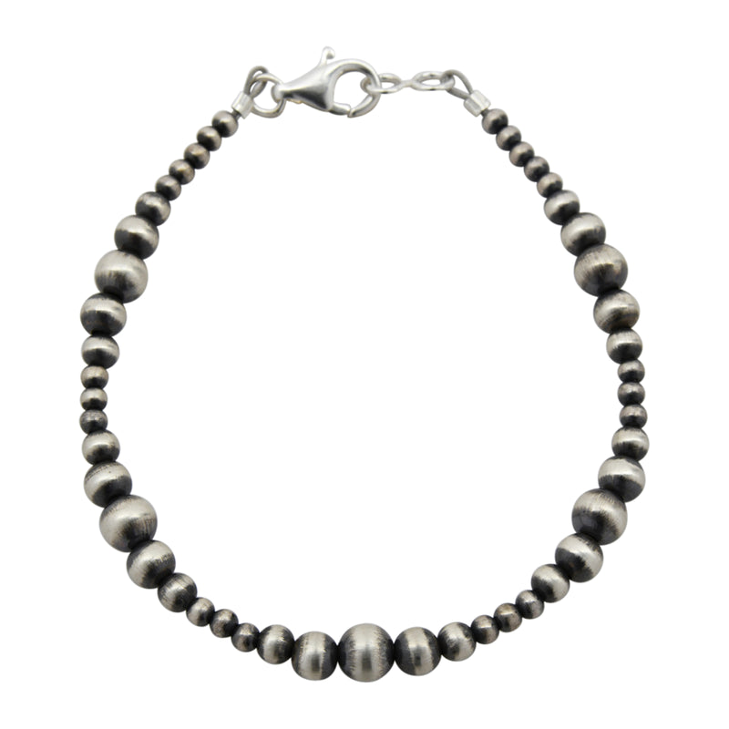 "Sterling Silver Mixed Graduated Navajo Pearl Oxidize Bead Bracelet. Available in 7"" to 10"""