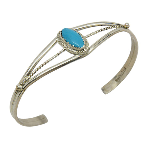 Elaine Tahe Sterling Silver Triangle Wire Plain 6.5mm Navajo Bracelet