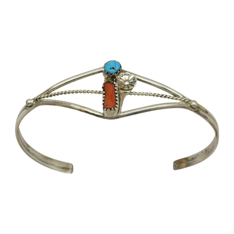 Esther White Sterling Silver Turquoise & Coral Navajo Cuff Bracelet