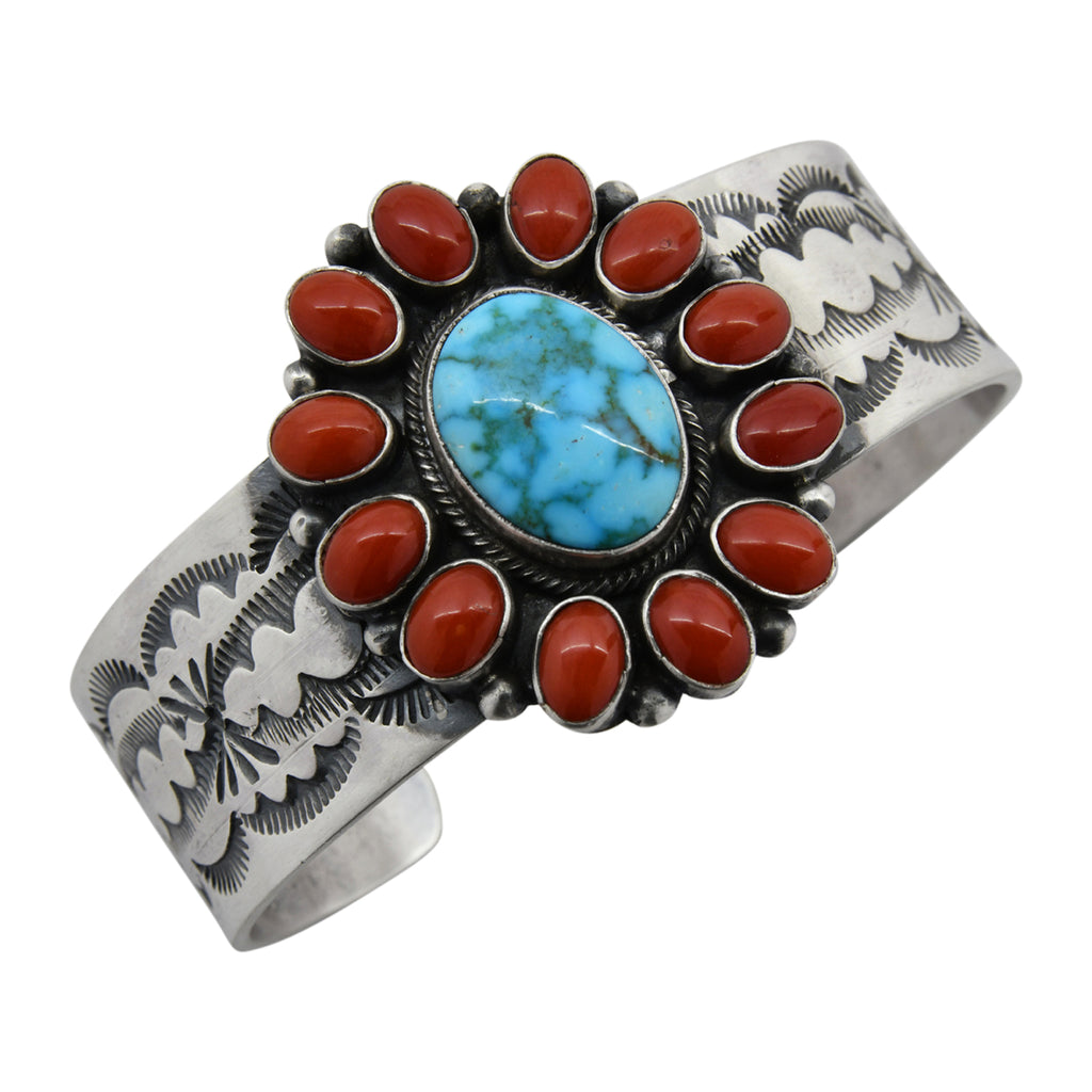 Bobby Johnson Sterling Silver Kingman Turquoise & Coral Oval Cluster Stamped Navajo Bracelet