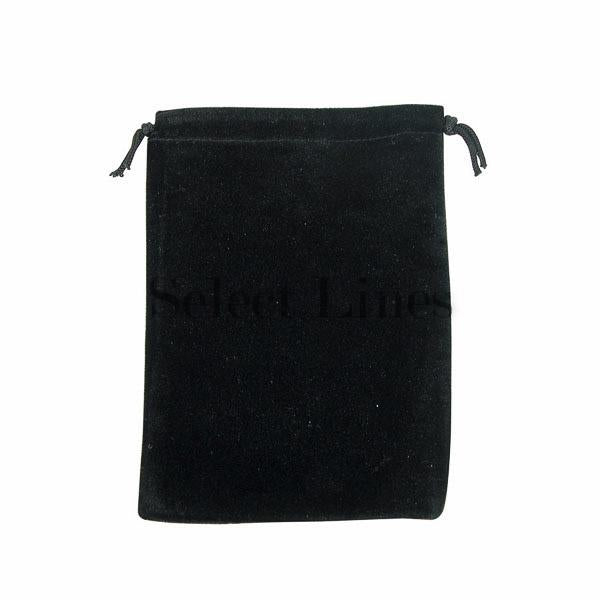 "12pc Pack Deluxe Black Velvet DrawString Pouch 4"" H"