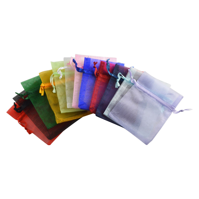 "12pc Pack Assorted Color Sheer DrawString Pouch 3"" H"