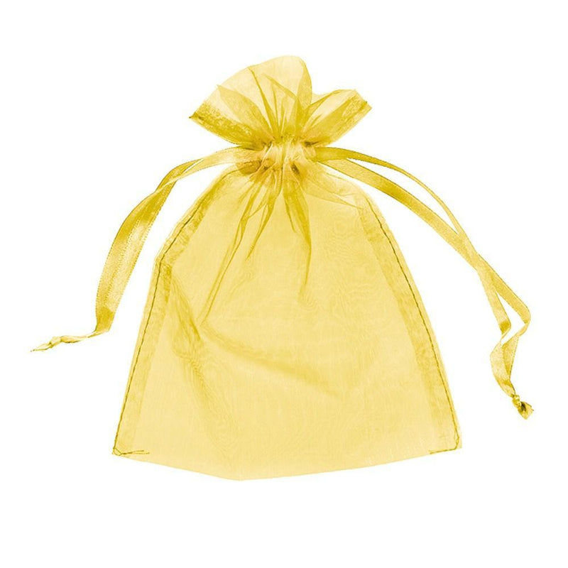 "12pc Pack Gold Sheer DrawString Pouch 5"" H"