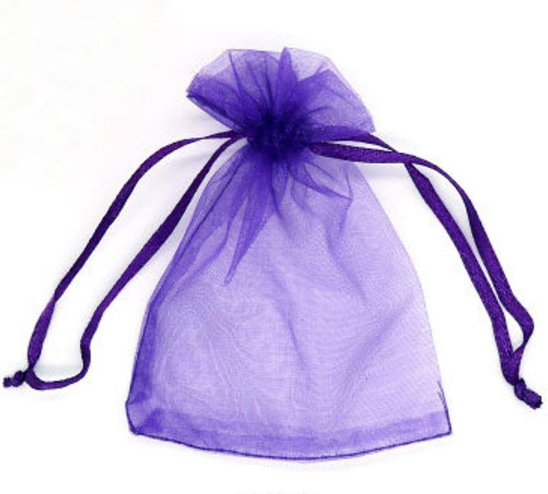 "12pc Pack Purple Sheer DrawString Pouch 5"" H"