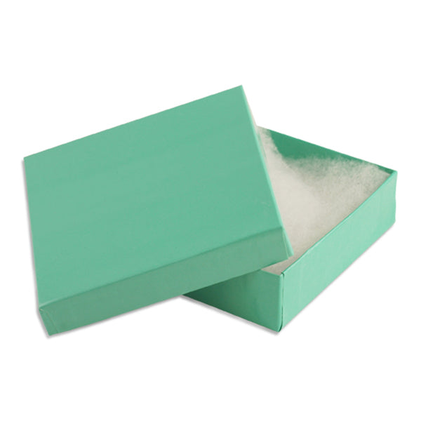 "100pcs Cotton Filled Glossy Teal Blue Gift Box 3.5""x3.5""x1"" H"