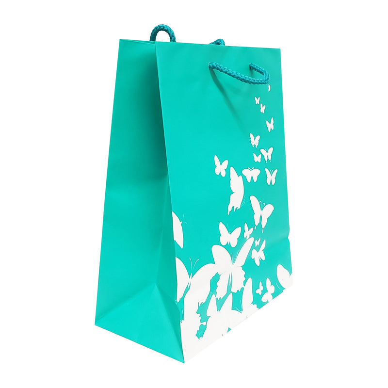 "20pc Pack Butterfly Spot Coating Paper Tote Gift Bag 10"" H"
