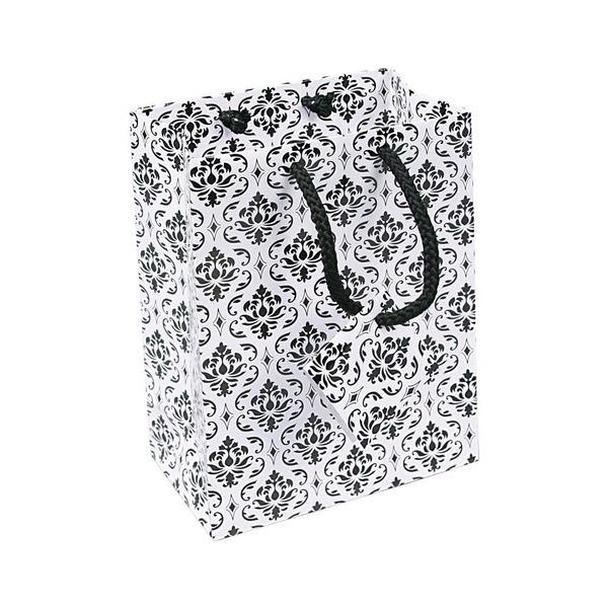 "20pc Pack Damask White Paper Tote Gift Bag 6-3/4"" H"