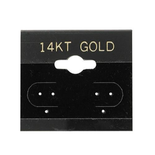 "100pc Pack Flocked Black ""14KT Gold"" Hanging Earring Cards 1-1/2""H."