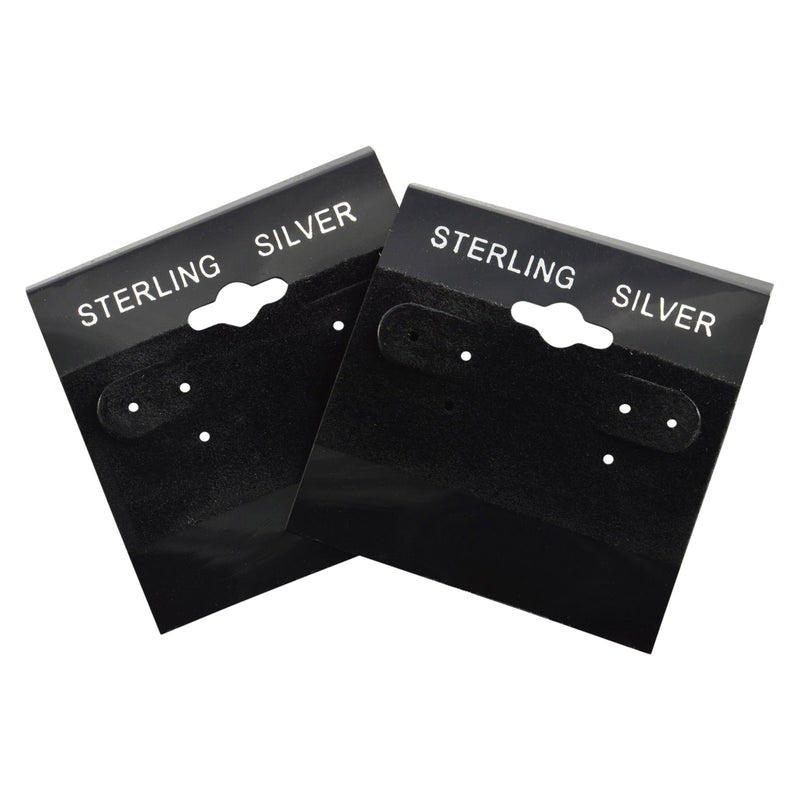"100pc Pack Flocked Black ""Sterling Silver"" Hanging Earring Cards 2""H."