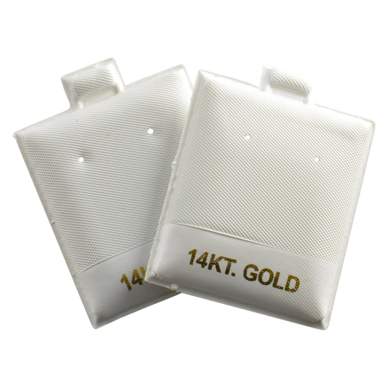 "100pc Pack Vinyl White ""14KT Gold"" Puff Earring Pads 1-3/4""H"