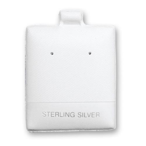 "100pc Pack ""Sterling Silver"" White Leather Puff Earring Pads Cards 1-3/4"" H."