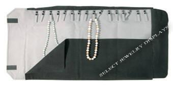 "Black Velvet 16 Snaps For Chains Jewelry Roll 22-3/4"" H."