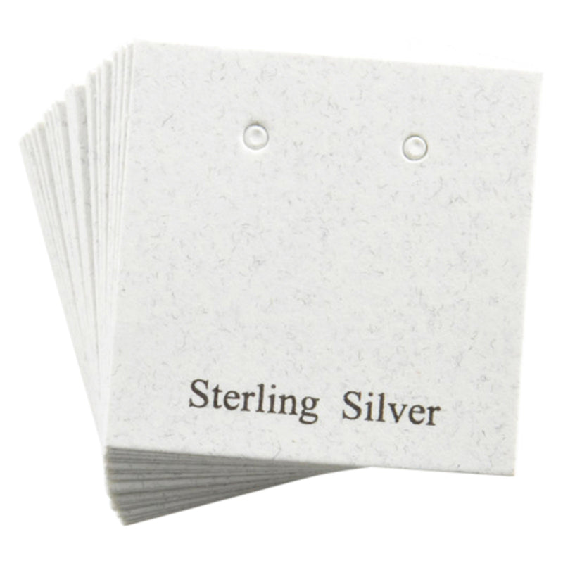 "100pc Pack White ""Sterling Silver"" Earring Cards 1"" H."