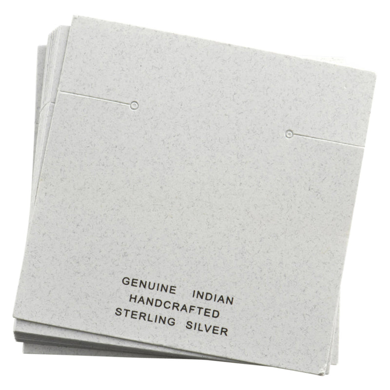 "100pc Pack White ""Genuine Indian Handcrafted Sterling Silver"" Earring Cards 2-3/8"" H."