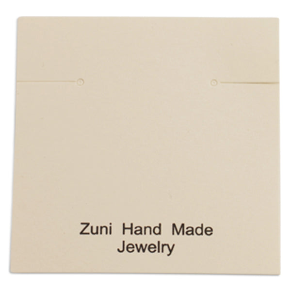 "100pc Pack Beige ""Zuni Hand Made Jewelry"" Earring Cards 2-3/8"" H."