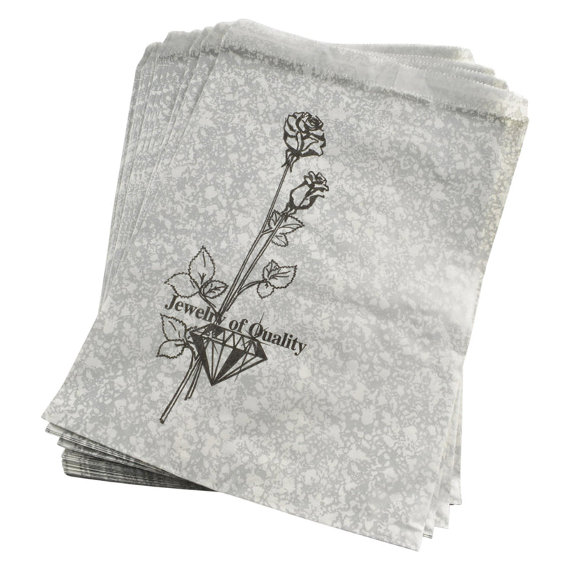"100pc Pack Silvertone w/ Flower Paper Gift Bag 11"" H"
