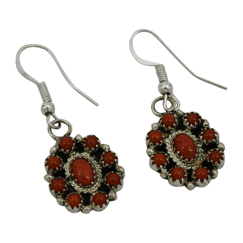 Nathaniel Curley Sterling Silver Navajo Coral Cluster Dangle Earrings