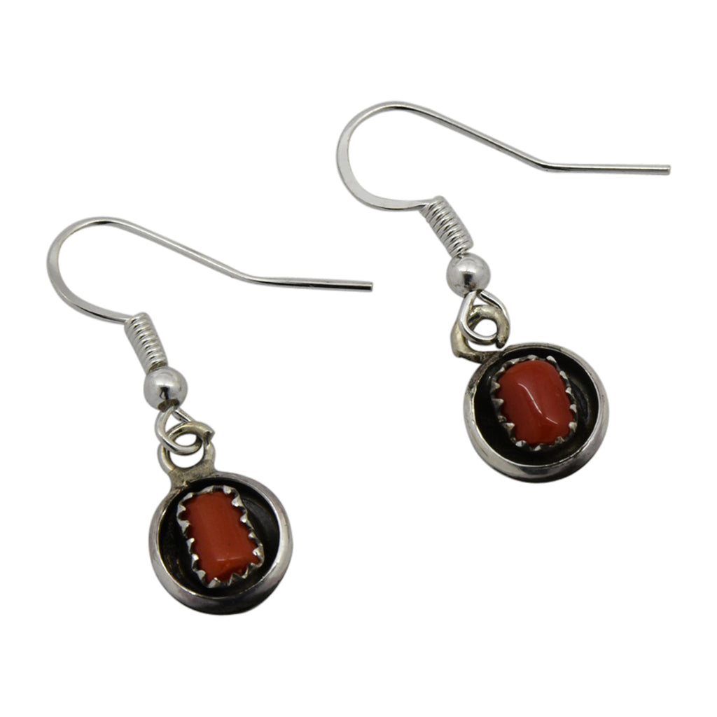 Phil & Lenora Garcia Sterling Silver Coral Shadow Box Navajo Earrings
