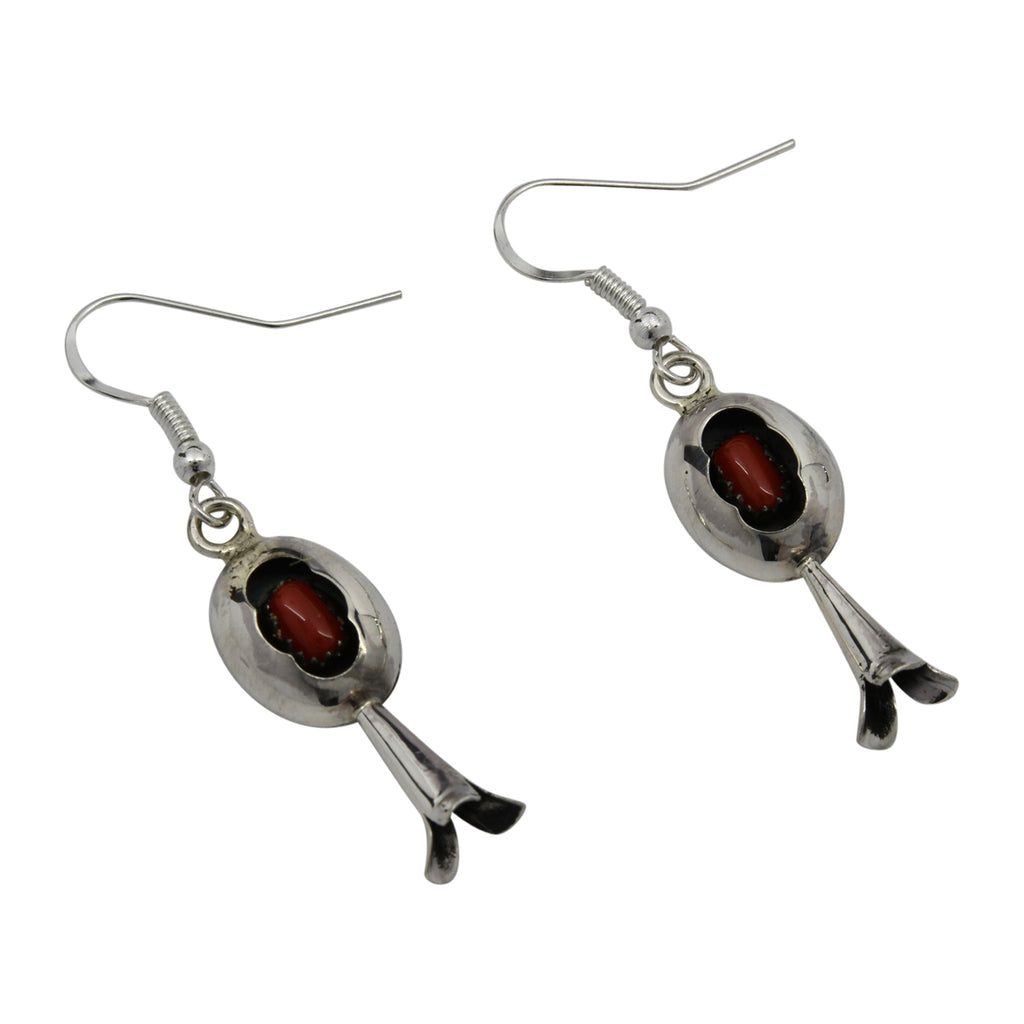 Lenora Garcia Sterling Silver Navajo Coral Squash Blossom Shadow Box Earrings
