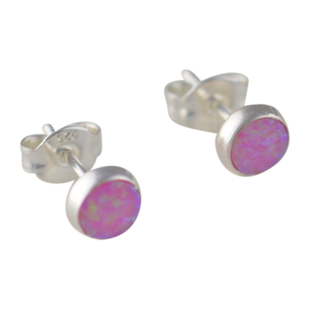 Sterling Silver Pink Lab Opal 5.5mm Round Stud Earrings
