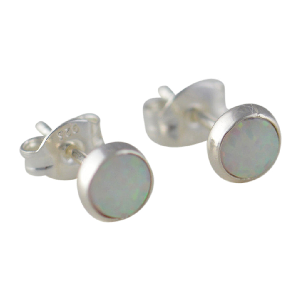 Sterling Silver White Lab Opal 5.5mm Round Stud Earrings
