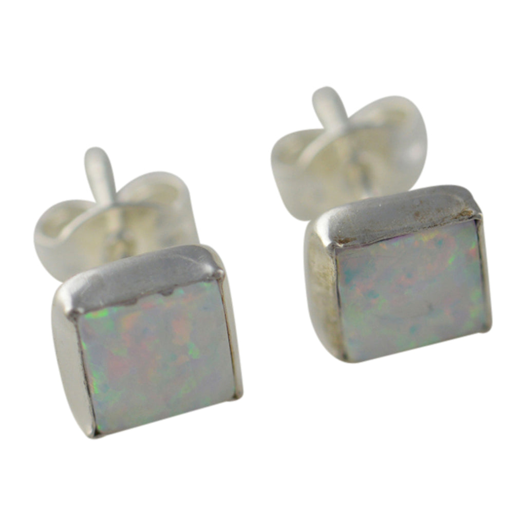 Sterling Silver White Lab Opal 6mm Square Stud Earrings