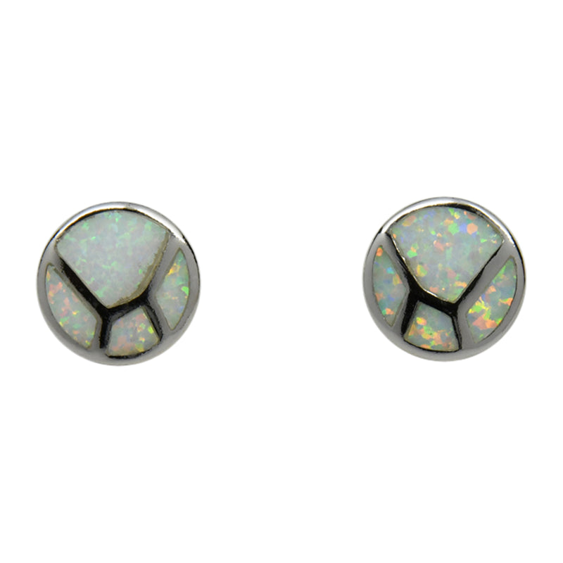 Sterling Silver White Lab Opal Round Inlay Earrings