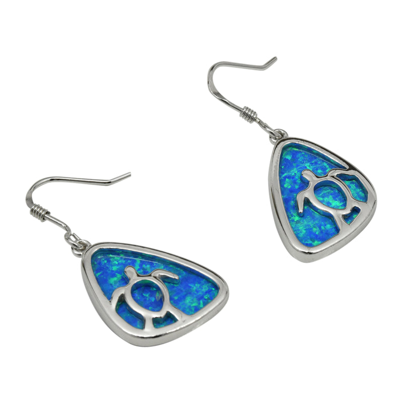 Sterling Silver Blue Lab Opal Turtle Cut Out Dangle Earrings