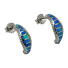 Sterling Silver Blue Lab Opal Half Hoop Post Earrings